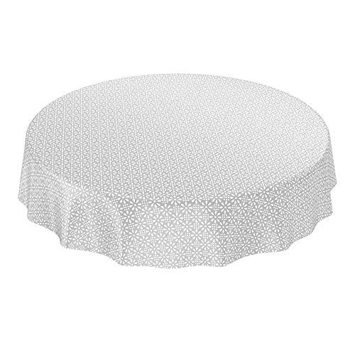 ANRO Wachstuchtischdecke Wachstuch Wachstischdecke Tischdecke abwaschbar Silber Retro Uni Trend Rund 140cm Grau
