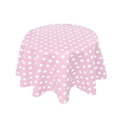 WACHSTUCH Tischdecken Tischdecke Wachstuch Abwaschbar Punkte Rosa 138cm Rund 150-11R