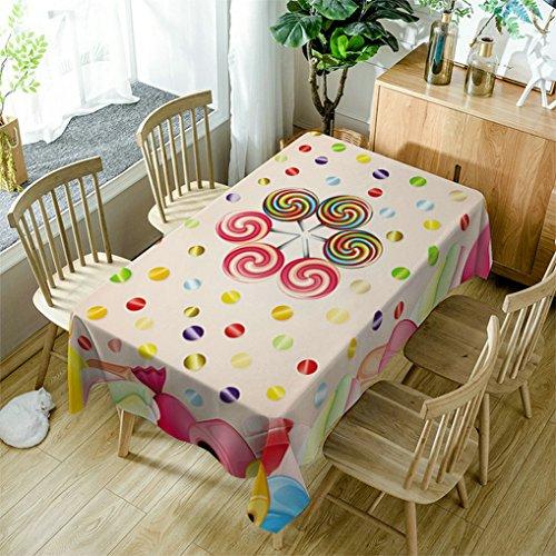 GuDoQi Tischdecke Buntes Lutschermuster Rechteck Tischdecke Tischdecken aus Polyestergewebe für Küche und Esstisch Dekoration