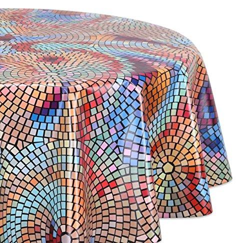 Wachstuchtischdecke glatt abwischbar OVAL RUND ECKIG Wachstuch Garten Tischdecke Größe und Motiv wählbar Rund 130 cm Mosaik-bunt