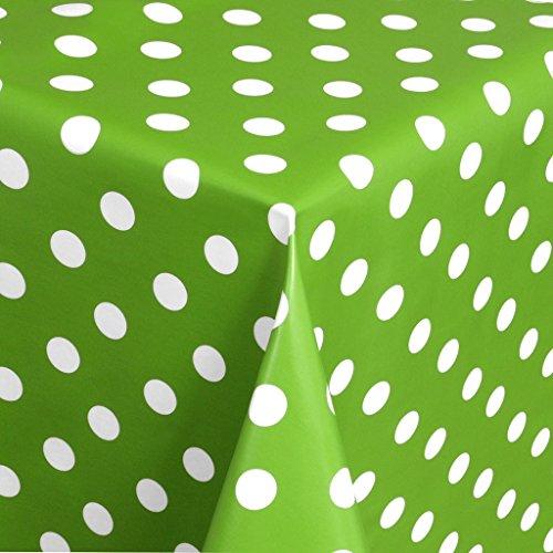 EHT Tischdecke Wachstuch Gartentischdecke rund eckig oval in verschiedenen Größen Meterware Wachstischdecke Punkte grün
