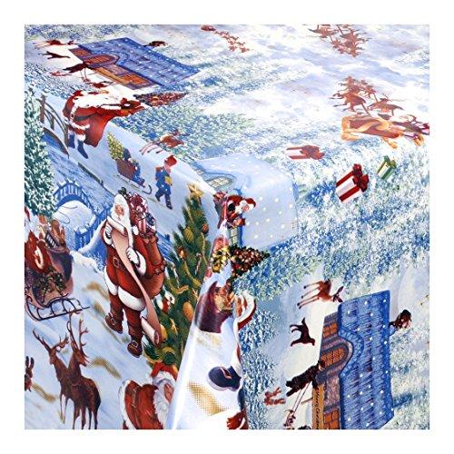 WACHSTUCH Tischdecken Wachstischdecke Gartentischdecke Abwaschbar Meterware Weihnachtsdorf Winterliche Landschaft mit Weihnachtsmotiven 228-00 160cm x 140cm