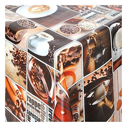 Wachstuch Tischdecke Wachstischdecke Gartentischdecke Abwaschbar Meterware Länge wählbar Coffe Time 065-00 200cm x 140cm