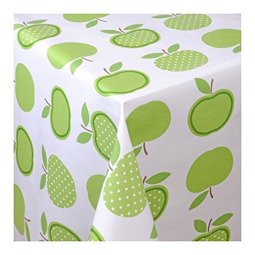 Wachstuch Tischdecke Wachstischdecke Gartentischdecke Abwaschbar Meterware Länge wählbar Green Apples Äpfel Grün Weiß 623-01