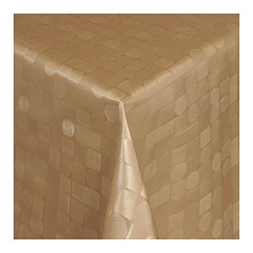 Wachstuch Tischdecke Wachstischdecke Gartentischdecke Abwaschbar Meterware Länge wählbar Hochwertig Geprägtes Mosaik Design in Gold 313-10 110cm x 140cm