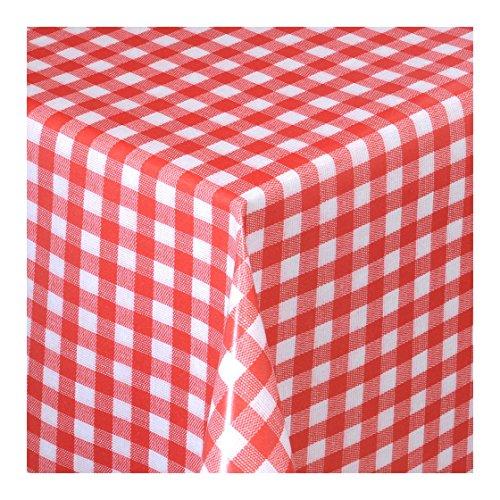Wachstuch Tischdecke Wachstischdecke Gartentischdecke Abwaschbar Meterware Länge wählbarKlein Kariert Rot Weiß 112-02 2000cm x 140cm