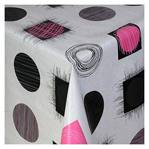 Wachstuch Tischdecke Wachstischdecke Gartentischdecke Abwaschbar Meterware Länge wählbar Quadrate und Kreise Schwarz-Pink 682-04 200cm x 140cm