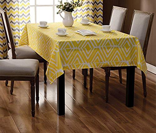 EXQUILEG Tischdecke Eckig Polyester Pflegeleicht Abwaschbar Hitzebeständig Anti-Fleck Tischtuch Ideal für Esszimmer Garten Balkon Etc Farbe Größe Wählbar 140X240cm Gelb