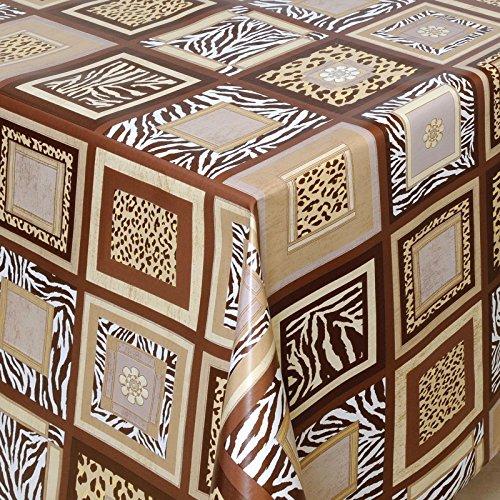 WACHSTUCH Tischdecken Gartentischdecke mit Fleecerücken Pflegeleicht Schmutzabweisend Abwaschbar Outdoor Afrika natur braun 260x140 cm - Größe individuell wählbar