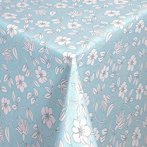 WACHSTUCH Tischdecken Gartentischdecke mit Fleecerücken Pflegeleicht Schmutzabweisend Abwaschbar Outdoor Weiße Blumen Blau 01398-06 200x140 cm - Größe individuell wählbar