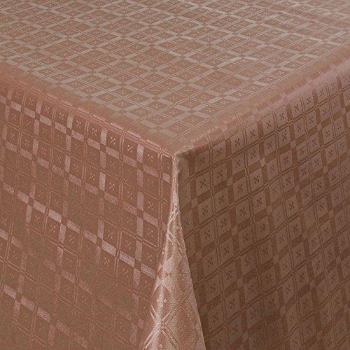 Wachstuch Tischdecke Gartentischdecke mit Fleecerücken Pflegeleicht Schmutzabweisend Abwaschbar Outdoor Karo Muster Braun 03011-02 110x140 cm - Größe individuell wählbar