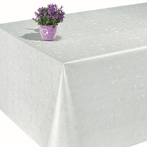 ANRO Wachstuch Wachstischdecke Tischdecke Wachstuchtischdecke Reliefdruck Weiß Rosen Rund 140cm
