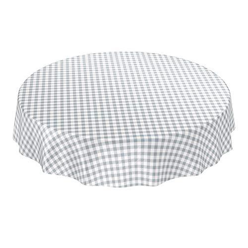 ANRO Wachstuchtischdecke Wachstuch Wachstischdecke Tischdecke Wachstuchdecke Karo Kariert Grau Rund 140cm