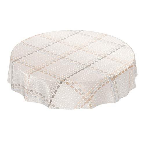 ANRO Wachstuchtischdecke Wachstuch Wachstischdecke Tischdecke abwaschbar Beige Textiloptik Textillook Karo Rund 140cm