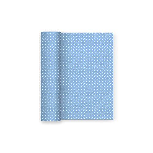 Papier-Tischdecke Party mit Polka Dots blau Baby Dekor - 12 m x 5 m