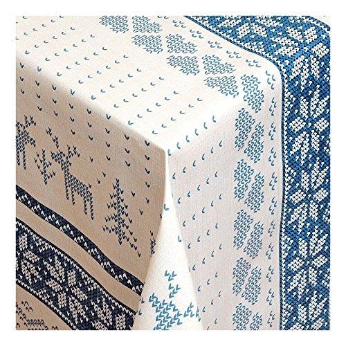 Wachstuch Tischdecke Wachstischdecke Gartentischdecke Abwaschbar Meterware Länge wählbarNorwegischer Winter winterlische Tischdecke mit nordischem SELBUROSE Elchmotiv in Blau 231-04 160cm x 140cm