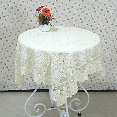 BLUELSS Beige Spitze Tischdecke rutschhemmend Table Cover öldicht Tischdecke Hochzeit Kaffee Kaffee Tischdecke Home Textile Beige 90 x 90 cm