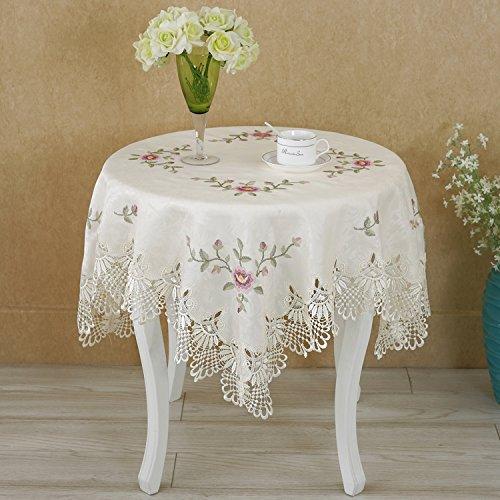 BLUELSS Heiße Europäische Runde Tischdecke Spitze Blumen Stickerei elegante Tischdecke Esstisch Decken Bettwäsche nähen Aushöhlen stil Kreuz als Bild angezeigt 150 cm Runde