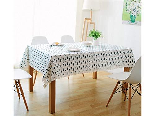 JwlqAy Indoor-Tischdecke Baumwolle rechteckig Stoff groß Motiv Fischräder dekorative Tischdecke aus Makramee-Spitze für die Küche zu Hause Garten Outdoor weiß