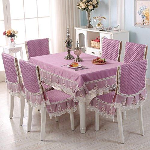 Tablecloth vbimlxft - Europäischen Stil Tischdecken Stuhl Kissen Set verdickt Tuch Spitze Tischdecke Esszimmer Stuhlhussen Dekoration Tischdecke Farbe  B größe  150x200cm