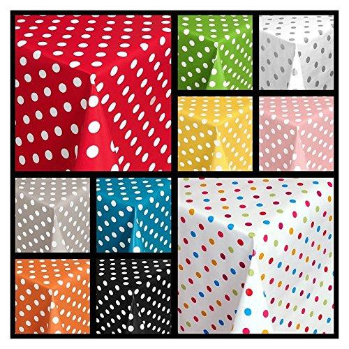 WACHSTUCH Tischdecken Wachstischdecke Gartentischdecke Abwaschbar Meterware Länge wählbar Punkte Rot 1150-01 210cm x 140cm