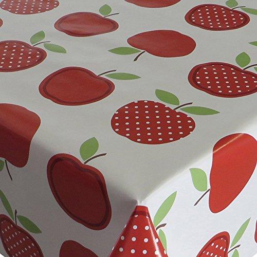 Wachstuch Tischdecke Wachstischdecke Gartentischdecke Apfel Mela Rot · Eckig 90x160 cm · Länge wählbar· abwaschbare Tischdecke