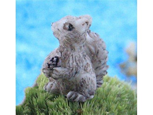 Kxrzu Groß 2 Stück Mini Harz Eichhörnchen Micro Landschaft Ornamente Garten Heim DIY Zubehör grau
