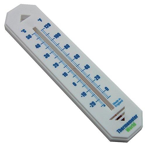 Weißes Wandthermometer für Verwendung in Innen- und Außenbereichen mit C-F-Anzeige für Heim Garten Gewächshaus Büro