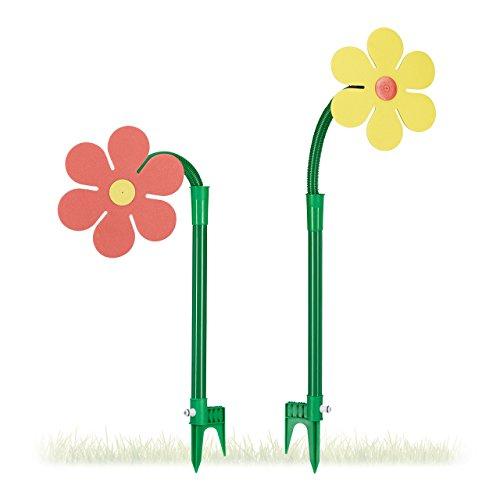 Relaxdays Sprinkler Blume Kinder 2er Set Garten 6 m Reichweite 360° Spritzblume HxBxT 105 x 28 x 28 cm rotgelb