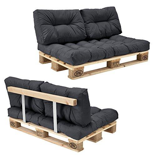 encasa Palettensofa - 2-Sitzer mit Kissen - Dunkelgrau Komplettes Set inkl Rückenlehne