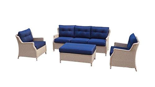 Büloo Polyrattan Gartenmöbel Lounge Set Sitzgruppe mit 2-Sitzer-Sofa oder 3-Sitzer-Sofa Farbe in helles beige oder braun aus Aluminium fertig montiert 3-Sitzer-Sofa beigedunkelblau