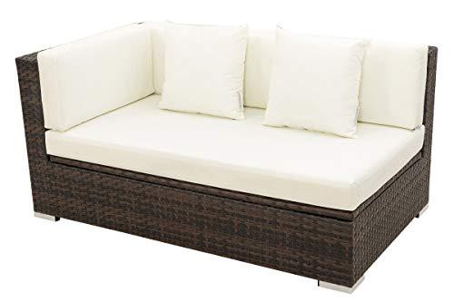 OUTFLEXX 2-Sitzer Ecksofa aus hochwertigem Polyrattan braun marmoriert mit Kissenbox-Funktion Armlehne rechts inkl Kissen Lounge-Sofa Couch wetterfest rostfrei Boxfunktion