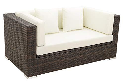 OUTFLEXX 2-Sitzer Sofa Lounge aus hochwertigem Polyrattan in braun marmoriert mit Kissenboxfunktion inkl Kissen-Polster Gartensofa Couch für 2 Personen wetterfest stabil und rostfrei