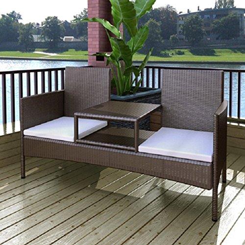 SSITG Poly Rattan 2-Sitzer Sitzbank Gartenbank Lounge Bank Sofa Gartenmöbel  Tisch