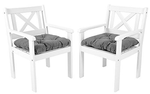 Ambientehome Garten Sessel Stuhl Massivholz inkl Kissen EVJE Weiß 2-teiliges Set