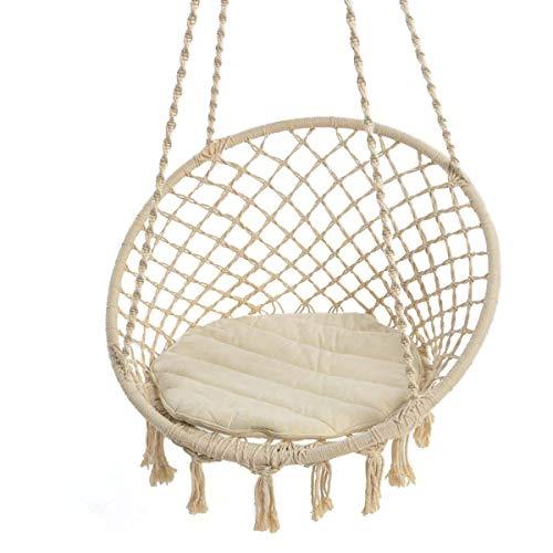 Hängesessel zum Aufhängen - mit rundem Sitzkissen - Weiß Beige - Belastbarkeit max 100 kg
