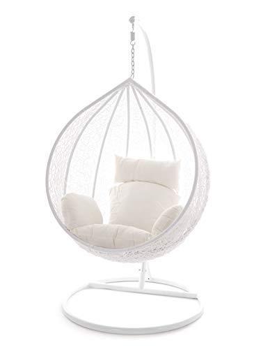 Kideo Swing Chair Hängesessel Hängestuhl Polyrattan Schwebesitz Loungesessel weiß