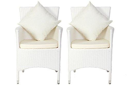 OUTFLEXX 2er-Set Sessel aus hochwertigem Polyrattan in weiß ca 60 x 605 x 865 cm inkl weichen Polster und Kissen Gartenstühle in modernem Design zeitlos vielseitig kombinierbar wetterfest