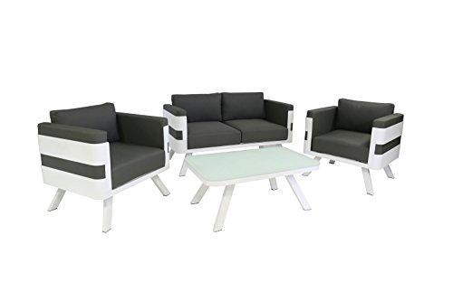 Ribelli Gartenmöbel Set aus Aluminium - Loungemöbel 4-teilig weiß - inkl Kissen anthrazit - Lounge für Outdoor und Indoor - 2er Sofa  Tisch  2 Sessel Sitzgruppe