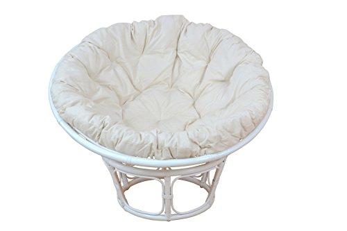 moebel direkt online Papasansessel Durchmesser 80 cm Inklusive bequemen Kissen weiß