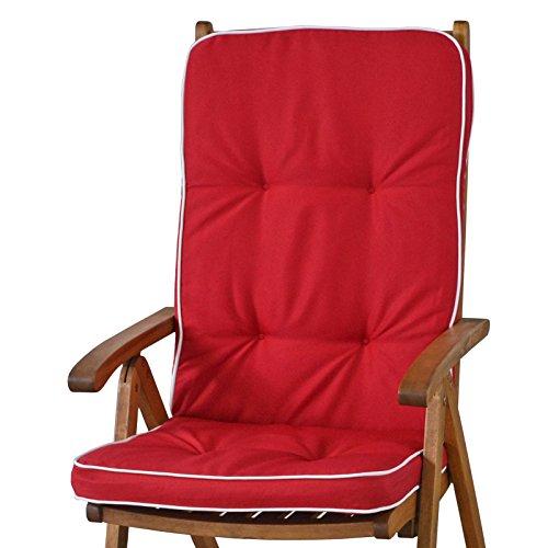 4 Auflagen für Hochlehner Sessel Sun Garden Tomiro 50077-33 rot weiß ohne Sessel