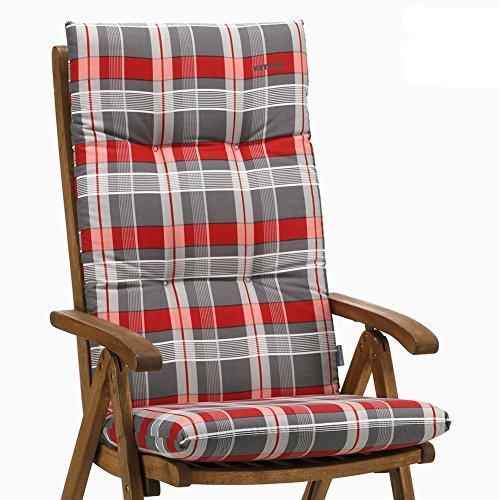 6 Kettler Auflagen für Hochlehner Dessin 769 Emma in rot-grau kariert ohne Sessel