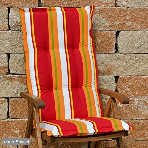 Hochlehner Auflagen 120x52x8 cm in rot gestreift SUN GARDEN Mühlheim 20526-310 ohne Sessel