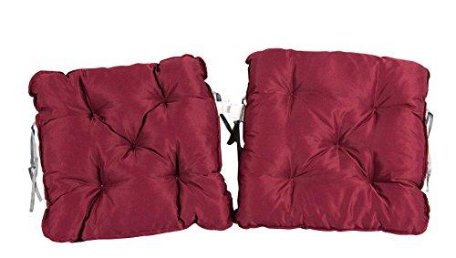 Meerweh 2er Set Auflage für Sessel Nordisches Design Sitzpolster Sitzkissen Rot 50 x 50 x 10 cm