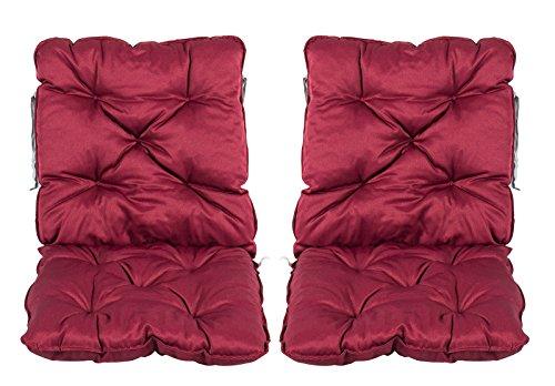 Meerweh 2er Set Rückenkissen Sessel ca 50 x 98 x 8 cm Polsterauflage Sitzkissen Rot 50 x 98 x 10 cm