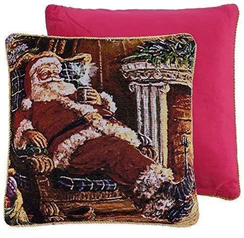 Weihnachtsmann Sessel Kamin  Rote Gold  Wandteppich samt 18  - 45cm Kissenbezug