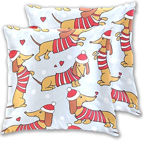 Kissenbezug mit Weihnachtsmotiv und Dackel im Weihnachtsmannmütze Standardgröße 2er-Set Wintertiere Baumwolle Leinen 406 x 406 cm Kissenschutz für Couch Sofa Bett H baumwolle multi 20x20