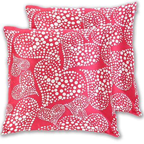 Valentinstagskissenbezug mit roten Herzen Standardgröße 2er-Set BaumwolleLeinen 406 x 406 cm Kissenschutz für Couch Sofa Bett Heimdekoration multi 18x18