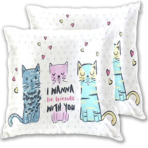 Wamika Kissenbezug Katzenherz Standardgröße 2er-Set rosa und blau Baumwollleinen 406 x 406 cm Kissenschutz für Couch Sofa Bett Heimdekoration Baumwolle Multi 16x16