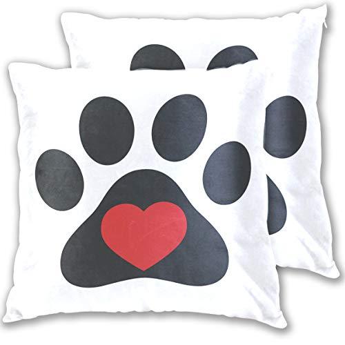Wamika Kissenbezug mit Hundepfoten-Motiv Herz-Motiv Standardgröße 2er-Set buntrot BaumwolleLeinen 406 x 406 cm Kissenschutz für Couch Sofa Bett Heimdekoration Baumwolle Multi 18x18